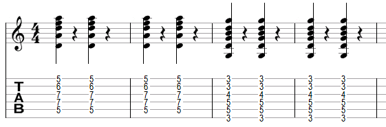 An example sequence of chords