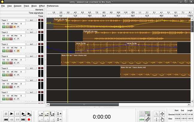 Orinj version 4.1 – multitrack view