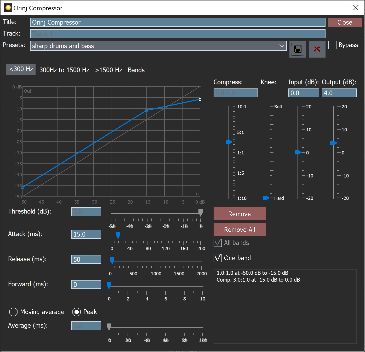 The Orinj Compressor dialog