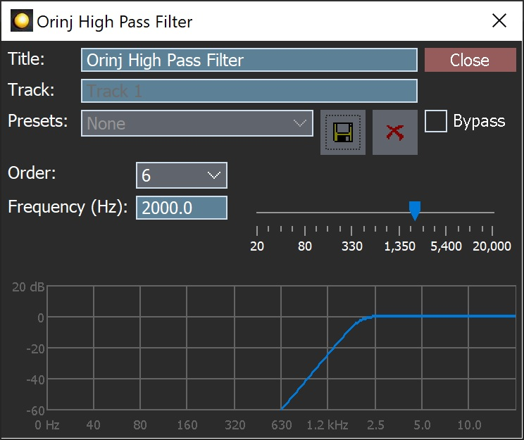 The Orinj High Pass Filter dialog