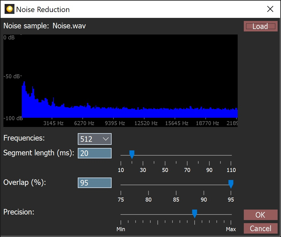 The Orinj noise reduction dialog