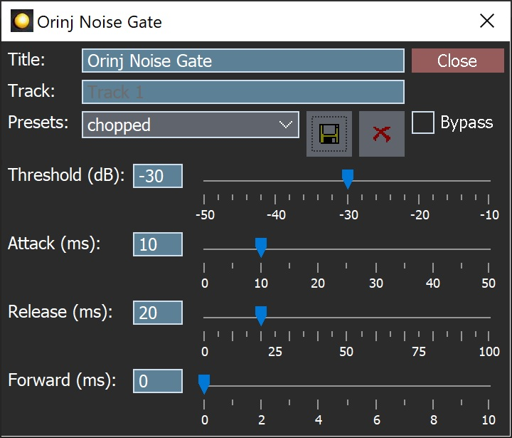 The Orinj Noise Gate dialog
