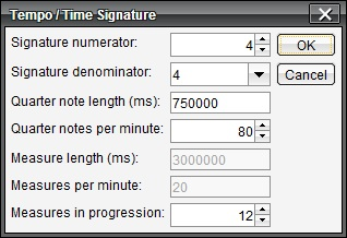 Tempo and Time Signature dialog