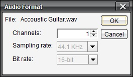 Wave audio format dialog